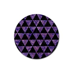 Triangle3 Black Marble & Purple Marble Rubber Round Coaster (4 Pack) by trendistuff