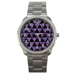 Triangle3 Black Marble & Purple Marble Sport Metal Watch by trendistuff