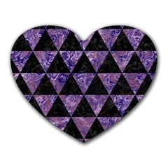 Triangle3 Black Marble & Purple Marble Heart Mousepad by trendistuff