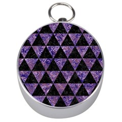 Triangle3 Black Marble & Purple Marble Silver Compass by trendistuff