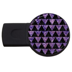Triangle2 Black Marble & Purple Marble Usb Flash Drive Round (4 Gb) by trendistuff