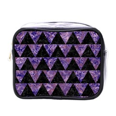 Triangle2 Black Marble & Purple Marble Mini Toiletries Bag (one Side) by trendistuff