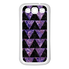 Triangle2 Black Marble & Purple Marble Samsung Galaxy S3 Back Case (white) by trendistuff
