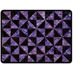 Triangle1 Black Marble & Purple Marble Fleece Blanket (large) by trendistuff
