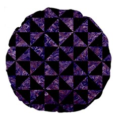 Triangle1 Black Marble & Purple Marble Large 18  Premium Round Cushion  by trendistuff