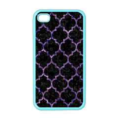 Tile1 Black Marble & Purple Marble Apple Iphone 4 Case (color) by trendistuff