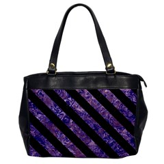 Stripes3 Black Marble & Purple Marble (r) Oversize Office Handbag by trendistuff