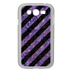 Stripes3 Black Marble & Purple Marble Samsung Galaxy Grand Duos I9082 Case (white) by trendistuff