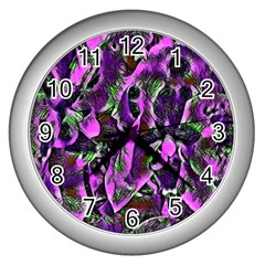 Floral  Fantasy, Pink Wall Clocks (silver)  by MoreColorsinLife