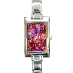 Floral Artstudio 1216 Plastic Flowers Rectangle Italian Charm Watch