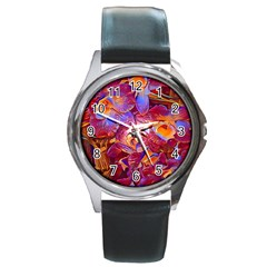 Floral Artstudio 1216 Plastic Flowers Round Metal Watch