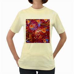 Floral Artstudio 1216 Plastic Flowers Women s Yellow T Shirt