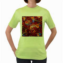 Floral Artstudio 1216 Plastic Flowers Women s Green T Shirt