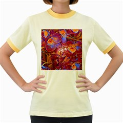 Floral Artstudio 1216 Plastic Flowers Women s Fitted Ringer T Shirts