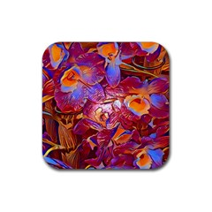 Floral Artstudio 1216 Plastic Flowers Rubber Square Coaster (4 Pack)