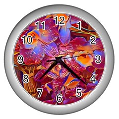 Floral Artstudio 1216 Plastic Flowers Wall Clocks (silver)