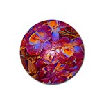 Floral Artstudio 1216 Plastic Flowers Rubber Round Coaster (4 pack)