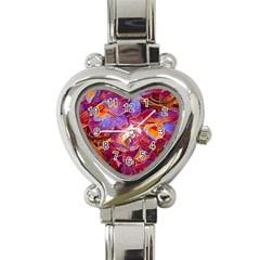 Floral Artstudio 1216 Plastic Flowers Heart Italian Charm Watch