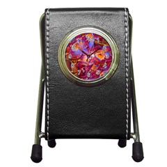 Floral Artstudio 1216 Plastic Flowers Pen Holder Desk Clocks