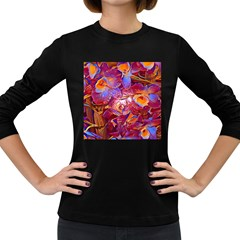 Floral Artstudio 1216 Plastic Flowers Women s Long Sleeve Dark T Shirts