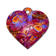 Floral Artstudio 1216 Plastic Flowers Dog Tag Heart (one Side)