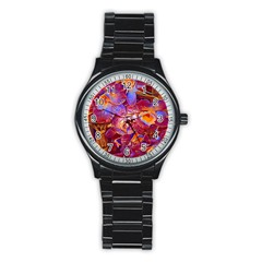 Floral Artstudio 1216 Plastic Flowers Stainless Steel Round Watch