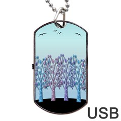 Blue Magical Hill Dog Tag Usb Flash (one Side) by Valentinaart