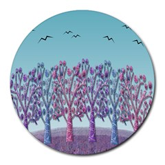 Blue Magical Landscape Round Mousepads by Valentinaart