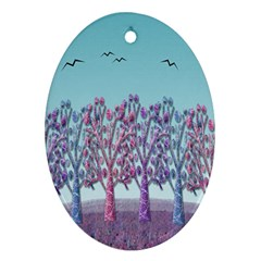 Blue Magical Landscape Ornament (oval)  by Valentinaart