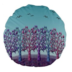 Blue Magical Landscape Large 18  Premium Flano Round Cushions by Valentinaart