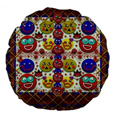 Smile And The Whole World Smiles  On Large 18  Premium Round Cushions by pepitasart