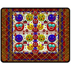 Smile And The Whole World Smiles  On Double Sided Fleece Blanket (medium)  by pepitasart