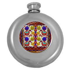 Smile And The Whole World Smiles  On Round Hip Flask (5 Oz) by pepitasart