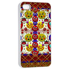 Smile And The Whole World Smiles  On Apple Iphone 4/4s Seamless Case (white) by pepitasart