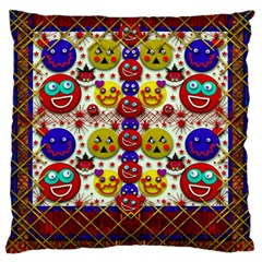 Smile And The Whole World Smiles  On Large Cushion Case (one Side) by pepitasart
