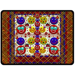 Smile And The Whole World Smiles  On Double Sided Fleece Blanket (large)  by pepitasart