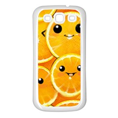 Cute Orange  Samsung Galaxy S3 Back Case (white) by Brittlevirginclothing