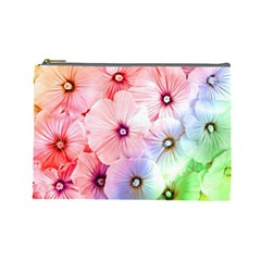 Rainbow Flower Cosmetic Bag (large)  by Brittlevirginclothing