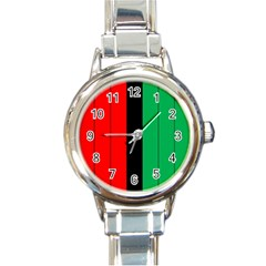 Kwanzaa Colors African American Red Black Green  Round Italian Charm Watch by yoursparklingshop