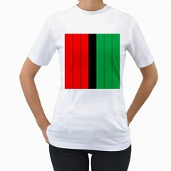 Kwanzaa Colors African American Red Black Green  Women s T Shirt (white) (two Sided) by yoursparklingshop