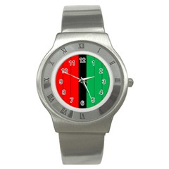 Kwanzaa Colors African American Red Black Green  Stainless Steel Watch by yoursparklingshop