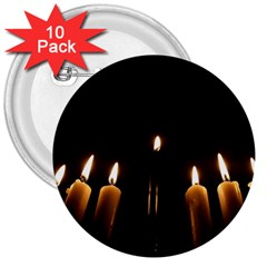 Hanukkah Chanukah Menorah Candles Candlelight Jewish Festival Of Lights 3  Buttons (10 Pack)  by yoursparklingshop