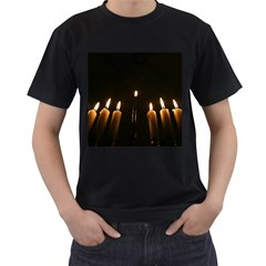 Hanukkah Chanukah Menorah Candles Candlelight Jewish Festival Of Lights Men s T Shirt (black) (two Sided) by yoursparklingshop