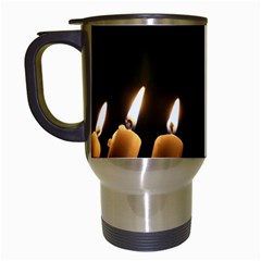 Hanukkah Chanukah Menorah Candles Candlelight Jewish Festival Of Lights Travel Mugs (white) by yoursparklingshop