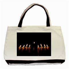 Hanukkah Chanukah Menorah Candles Candlelight Jewish Festival Of Lights Basic Tote Bag by yoursparklingshop