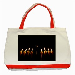 Hanukkah Chanukah Menorah Candles Candlelight Jewish Festival Of Lights Classic Tote Bag (red) by yoursparklingshop