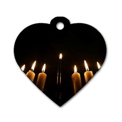 Hanukkah Chanukah Menorah Candles Candlelight Jewish Festival Of Lights Dog Tag Heart (one Side) by yoursparklingshop