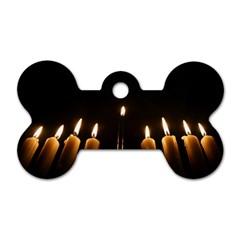 Hanukkah Chanukah Menorah Candles Candlelight Jewish Festival Of Lights Dog Tag Bone (one Side) by yoursparklingshop