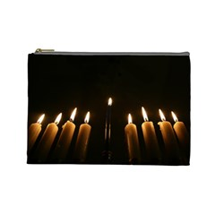 Hanukkah Chanukah Menorah Candles Candlelight Jewish Festival Of Lights Cosmetic Bag (large)  by yoursparklingshop