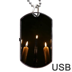 Hanukkah Chanukah Menorah Candles Candlelight Jewish Festival Of Lights Dog Tag Usb Flash (one Side) by yoursparklingshop